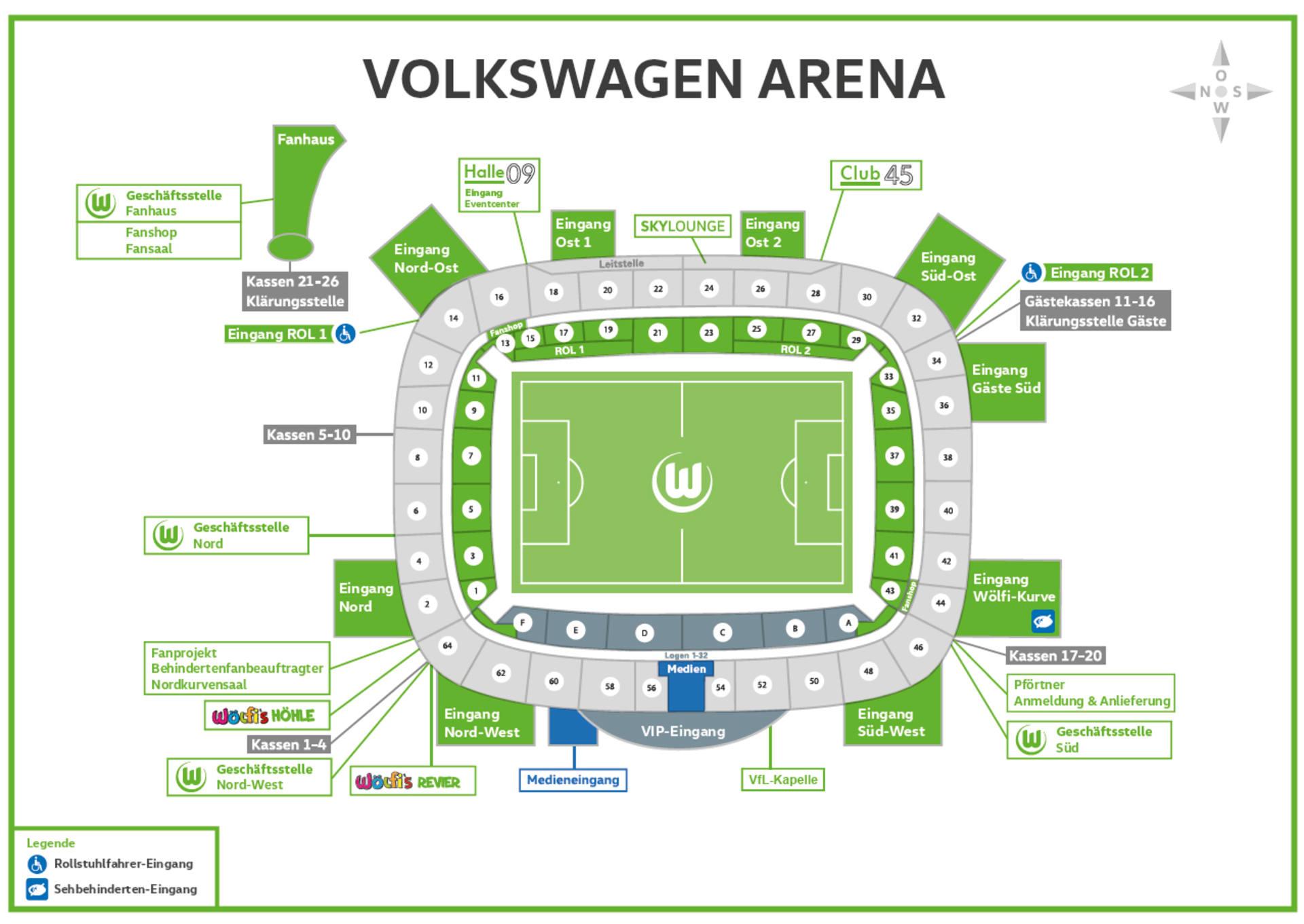 Wolfsburg Stadionplan