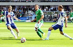 Zum Saisonstart 2014/2015 war der SV Werder im Berliner Olympiastadion zu Gast. Julian Schieber brachte die Hertha mit zwei Toren in Führung. (Archivfoto: nordphoto).
