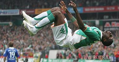 Werders höchster Bundesliga-Sieg: Am 29.09.2007 gewinnt der SVW zuhause mit 8:1 gegen Arminia Bielefeld. Boubacar Sanogo trifft zweimal.