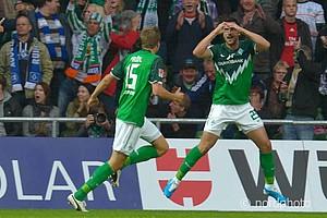 Werder verspielte eine 2:0-Führung, doch Hugo Almeida schoss Werder kurz vor Schluss zum 3:2-Derbysieg.