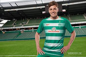 2016/17 startet Werder erstmals mit einem Heimtrikot in grün-weißer Streifenoptik in die Saison (Foto: Heidmann).