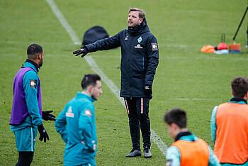 Florian Kohfeldt gibt im Werder-Training vor Köln Anweisungen.