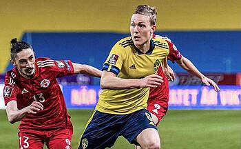 Ludwig Augustinsson im Länderspiel gegen Georgien