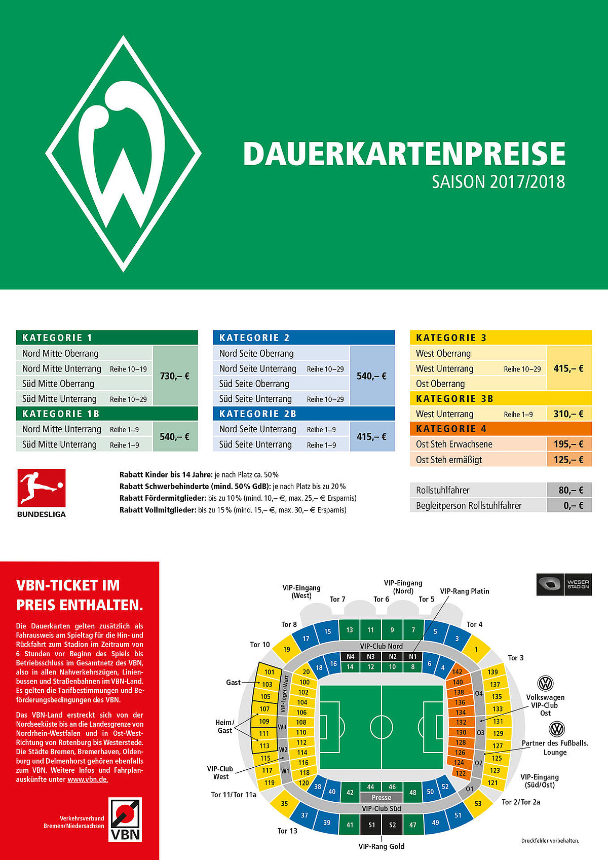 preise sv werder bremen ticketshop. Black Bedroom Furniture Sets. Home Design Ideas