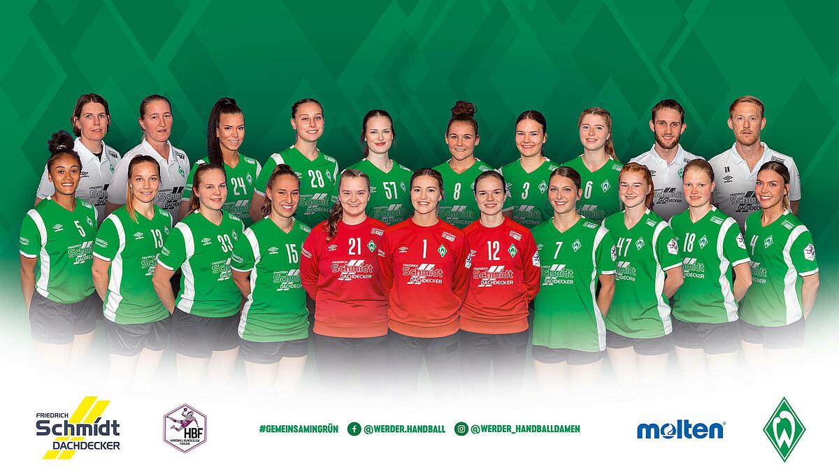 Teamfoto der 1. Frauen SV Werder Bremen Handball.