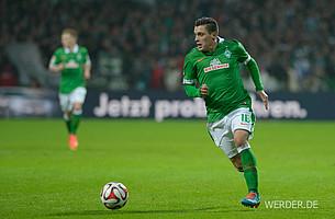 2014 kehrte Werder zu einem einheitlichen Grün zurück. Das Trikot wurde zudem mit einem weißen Kragen ausgestattet (Foto: nordphoto).