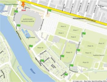 Kennzeichnung der Orte rund um das wohninvest WESERSTADION, an denen sich Rätsel befinden.